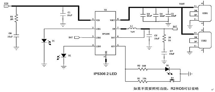IP5306是INJOINIC·升邦科技(胡生13322930472 QQ:2355540888)代理的面对高端电子礼品市场量身打造的开关充(2.1A)同步放(2.4A)低成本移动电源解决方案。IP5306具有充放电效率高(93%)、充放电电流均超过2.1A、支持1/2/3/4个灯、手电筒、按键开关机功能、充放电温度低、元件少、成本低、体积小(ESOP8)、免维修等诸多优点于一身。IP5306是高端电子礼品小体积移动电源厂家的首选的大电流充放电低成本移动电源解决方案。